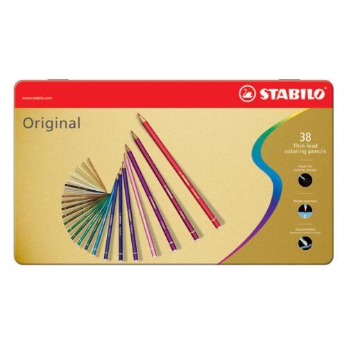 STABILO ORIGINAL 38 Colori Matite a Mina Sottile di Precisione Astuccio Metallo