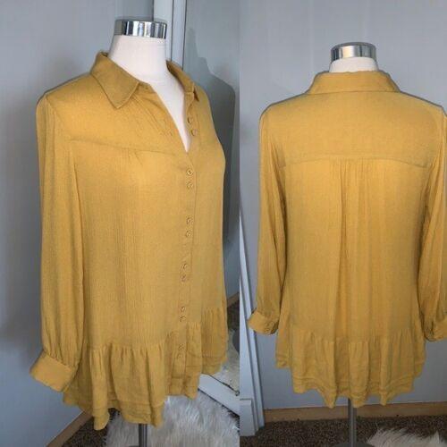 Soft Surroundings mustard yellow tunic blouse Sz M - image 1