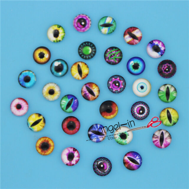 20/50/100pcs 12MM Eyes Glass Round Cabochon Dome Flatback Cameo Charms