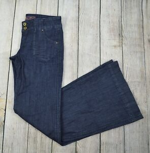 Divine-Rights-of-Denim-Women-039-s-Flare-Leg-Jeans-Pant-Low-Rise-Size-27-Dark-Blue