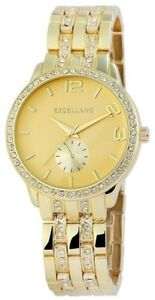 Excellanc-Damenuhr-Gold-Strass-Chrono-Look-Analog-Metall-Quarz-X-1800013-004