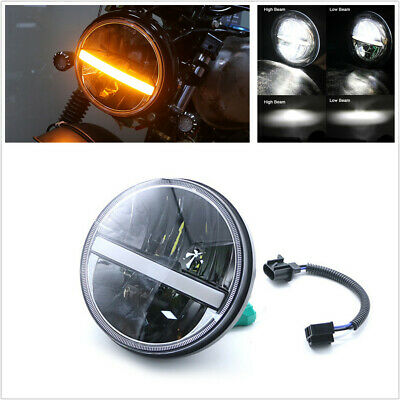 "7/"" Round LED Motorcycle Headlight DRL Turn Light Housing for Harley Davidson"