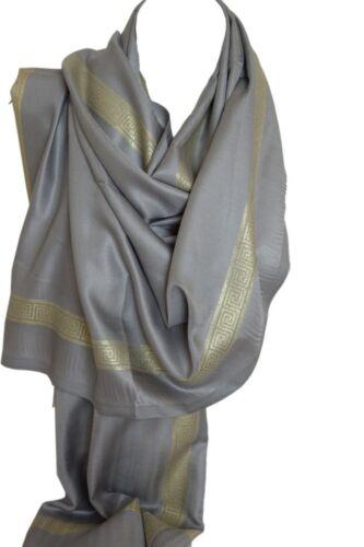 Silk Satin Soft Feel Bright Gold Border Scarf Scarves Stole Shawl Wrap Hijab