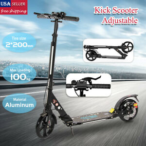 Kids Foldable Kick Scooter Aluminium Frame Height Adjustable Ride On Wheels