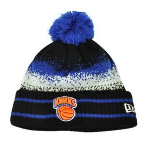 a7852480d Details about NBA New Era Spec Blend New York Knicks Cuffed Pom Pom Knit  Beanie Hat Toque Blue