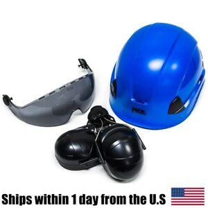 Petzl Vertex Best Hi-Viz Blue Helmet Visor Ear Muffs Kit A10BBC A15AS
