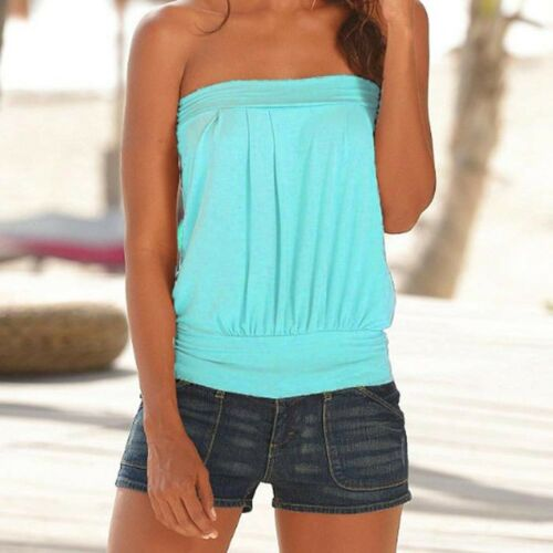 Women Fashion Summer Casual T Shirt Tops Strapless Sleeveless Bandeau Boob Tube