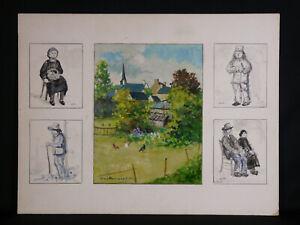 Guy-Pennamen-1932-Suite-di-Gouaches-Paesaggio-Lizio-Morbihan-Bretagna-Bzh
