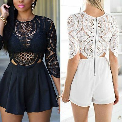 Sexy Women Ladies Clubwear Lace Playsuit Bodycon Party Jumpsuit&Romper Trousers