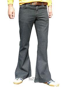 Mens-Black-Stonewash-denim-bell-bottom-flares-jeans-vtg-60s-70s-indie-mod-hippy