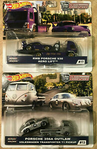 2x Hot Wheels Team Transport Porsche 356A Outlaw/VW T1 Transporter& RWB 930 Aero