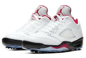 Details about Nike Air Jordan 5 Low Golf Shoes - Men's Size 9 - Fire Red - Jordan 5 Golf Shoes