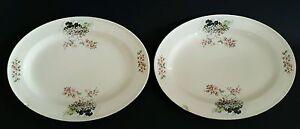 Edwin-M-Knowles-China-Platters-Oval-Serving-Plates-Semi-Vitreous-USA-Set-of-Two