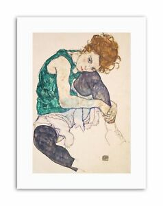 EGON-SCHIELE-SEATED-WOMAN-LEGS-DRAWN-UP-ELE-HERMS-Painting-Canvas-art-Prints