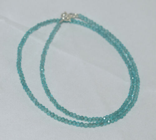 925 Sterlingsilber Sky Apatit 30.5-102cm Strang Halskette 3 mm Rund Beads GFC554