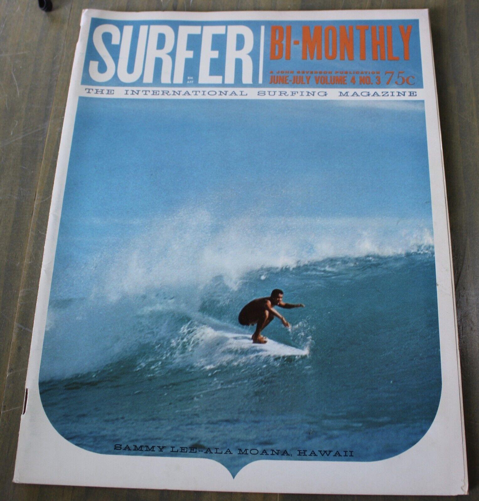 Vintage el surfista bimestralmente Vol. 4 no 3 de junio de 1963 John Severson Surf Magazine