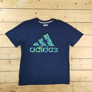 Mens Adidas Big Logo Performance Activewear Climalite T Shirt Tee - Blue Large