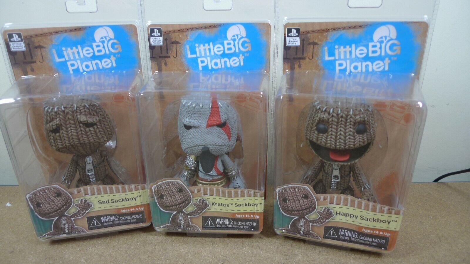 Neca Little Big Planet Series 1 Set Completo feliz, triste & Kratos Sackboy figuras