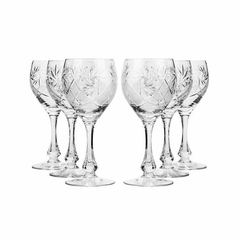 Neman Glassworks, 10-Oz Russian Crystal Wine Glasses, 6-pc Vintage Goblets Set