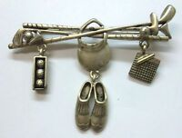 Golf Charm Signed Brooch Pin With Clubs, Irons, Ball, Hat, Shoes, Score Card
