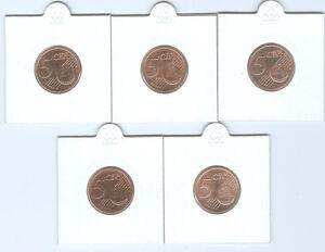 BRD  5 Cent ADFGJ  stempelglanz  (Wählen Sie unter: 2002 - 2021)