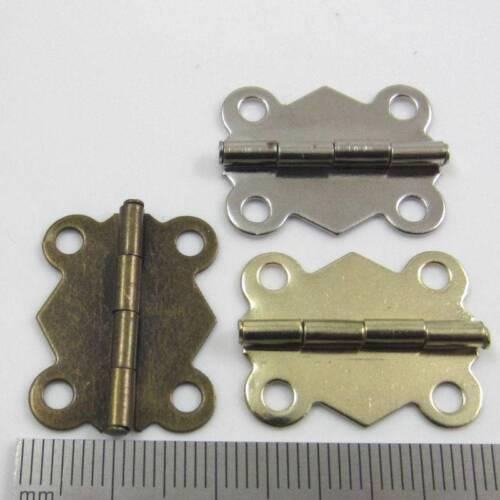 10 CERNIERE placcato in miniatura Hardware 19 x 24mm Small casa delle bambole Gioielleria Scatola di sigari