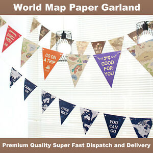 World Map Party Supplies.World Map Paper Flags Garland Bunting Banner Celebration Party