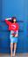 TOPSHOP Cornflower Blue PVC Vinyl Tab Detail Pencil Wiggle Blogger Skirt  UK 6