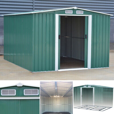 Garden Shed Metal Apex Pent Roof Outdoor Storage 4 X 8ft Tool Sheds+Base