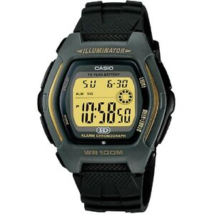 Casio-HDD-600G-9AV-Black-Silver-Gold-Tone-Illuminator-Digital-Watch-Box-Included