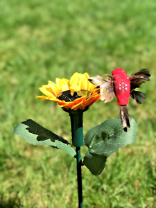 Image Is Loading  3703H Solar Fluttering Hummingbird With Sunflower Really Feather
