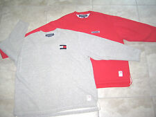 2 Vintage 90s TOMMY HILFIGER Red Gray Pullover Fleece Sweater Shirt XL USED