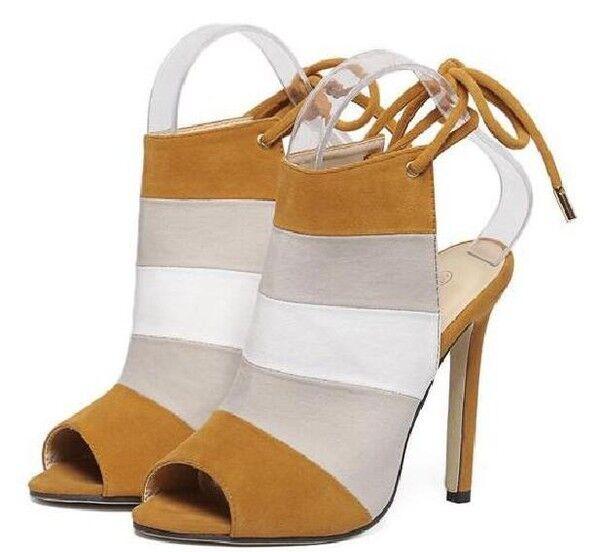 Sandali bottes eleganti tacco stiletto 11  beige pelle sintetica eleganti 9854