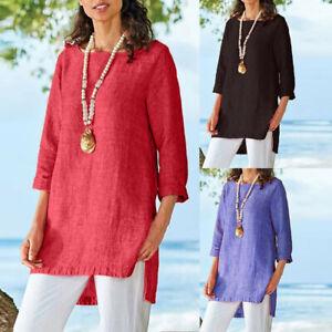 Hot-Sale-Women-Ladies-3-4-Sleeve-Loose-Tops-Casual-Plain-Tee-Shirt-Blouse-Tunic