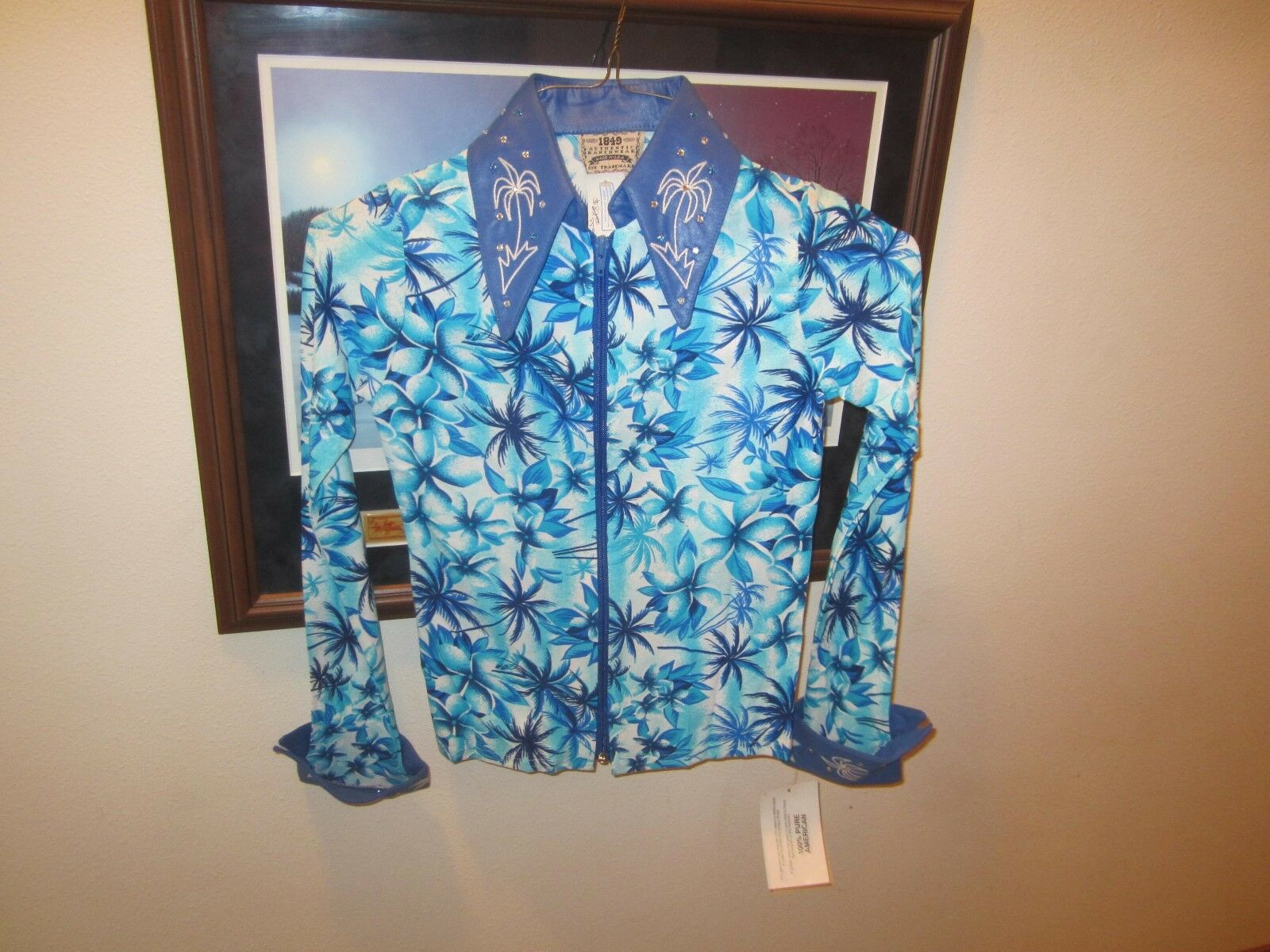NEW   1849 Authentic Ranch Wear blueee Flower Show Shirt, SMALL,  HOBBY HORSE