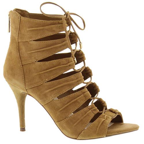 Jessica Simpson Mahiri 8 M Honey Brown Suede Ankle Stiletto Pumps Sandals Bootie