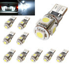 10x Canbus Error Free T10 194 W5W 5050 5 SMD LED White Interior Light Lamp Bulb