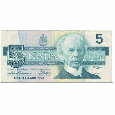 40-45 5 Dollars 1986 Ef Collection Here Km:95b Banknote Highly Polished Canada Undated 1986 #604186