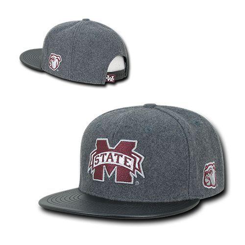 9d9580c0b548a Mississippi Miss State Bulldogs Wool Flat Bill Snapback Baseball Cap ...