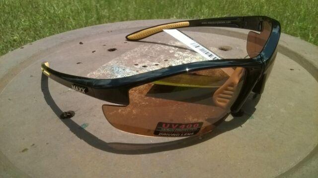 c8fd44ab65d Maxx HD Sunglasses Raven 2.0 black yellow brown lens TR90 mens or womens  golf