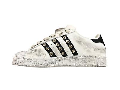 Adidas Superstar personalizzate con borchie argento effetto sporco e occhielli | eBay