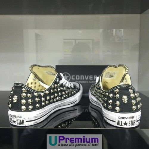 Converse All Star Schuhe Nere Teschi Argento  Schuhe Star Borchiate b6a108