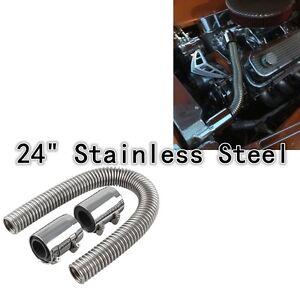UNIVERSAL-24-034-Chrome-Stainless-Steel-Radiator-Hose-Kit-Aluminum-Clamp-Covers-NEW