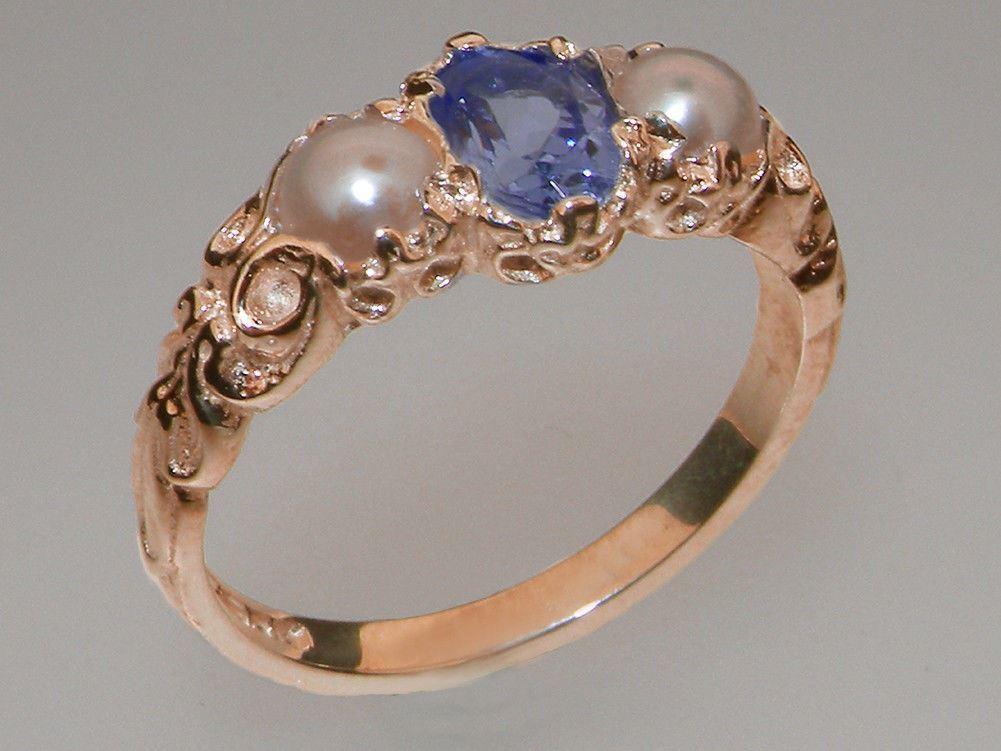 9ct pink gold Natural Tanzanite & Pearl Womens Trilogy Ring - Sizes J to Z