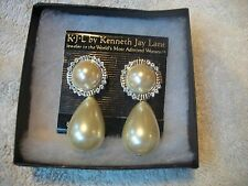 KENNETH J LANE wow! BIG Faux Pearl Austrian Crystal  Earrings NIB Pierced