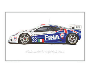 mclaren bmw f1 gtr lm - limited edition classic car print poster