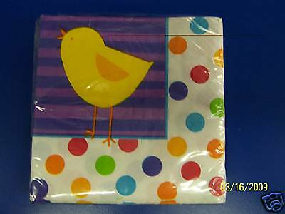Easter Day Polka Dot Chick Holiday Party Paper Beverage Napkins