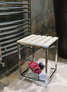 Wooden Bathroom Stool Dressing Stool White Wooden Top