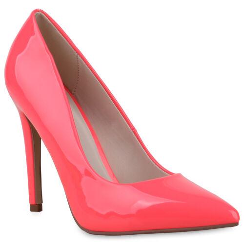 Damen Pumps High Heels Stiletto Party Abendschuhe Lack Metallic 832073 Trendy
