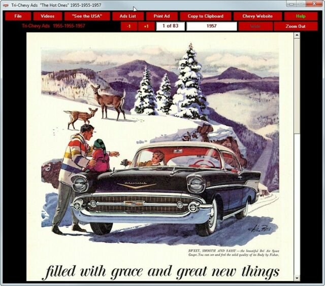 Tri-Chevy Ads /& Videos CD-ROM 1955 1956 1957 chevrolet